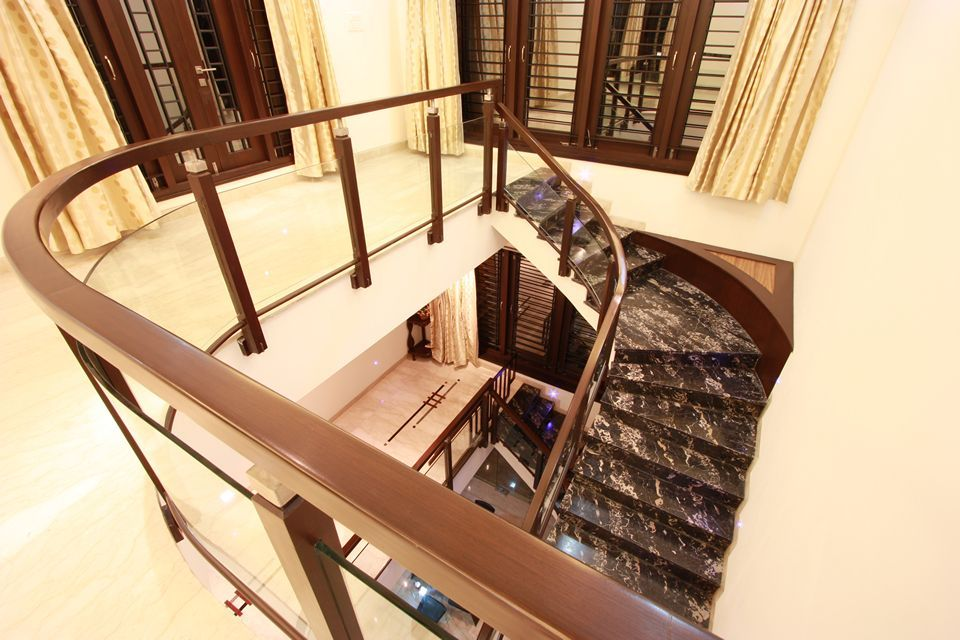 Best View Of Staircase From Second Floor With Teak Wood And 400 x 300