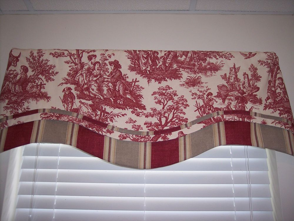Red Cream Waverly Country Life Toile Db Scallop W Striped Trim Valance Curtains Waverlyfabric Traditional Valance Curtains Curtains Curtains For Sale