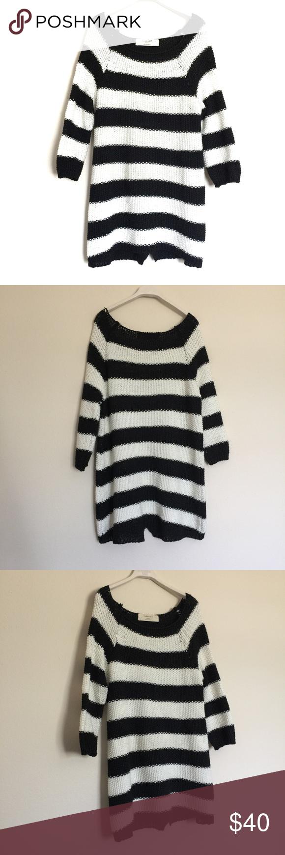 Zara black white chunky knit striped tunic sweater | Zara black ...