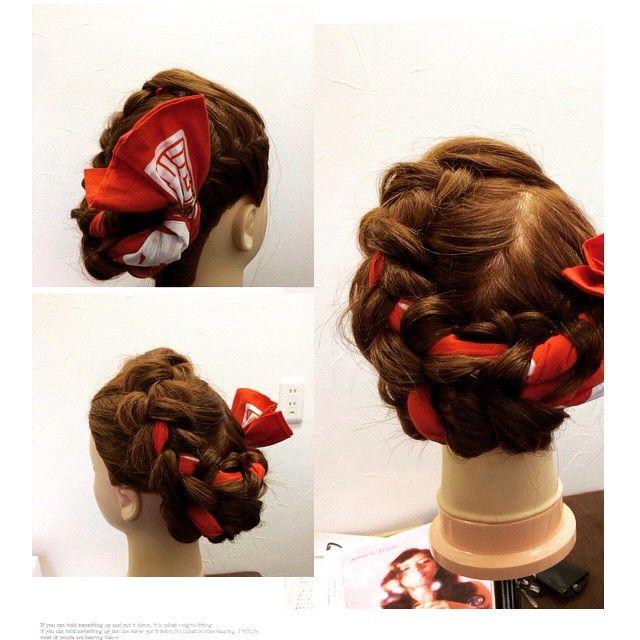 Mulpix 浜松まつり 浜松祭 ヘアセット 髪型 編み込み 手拭い
