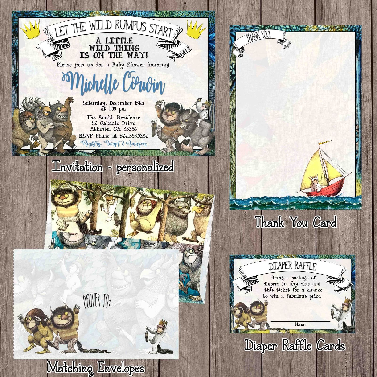 where the wild things are baby shower invitation set - invitation ...