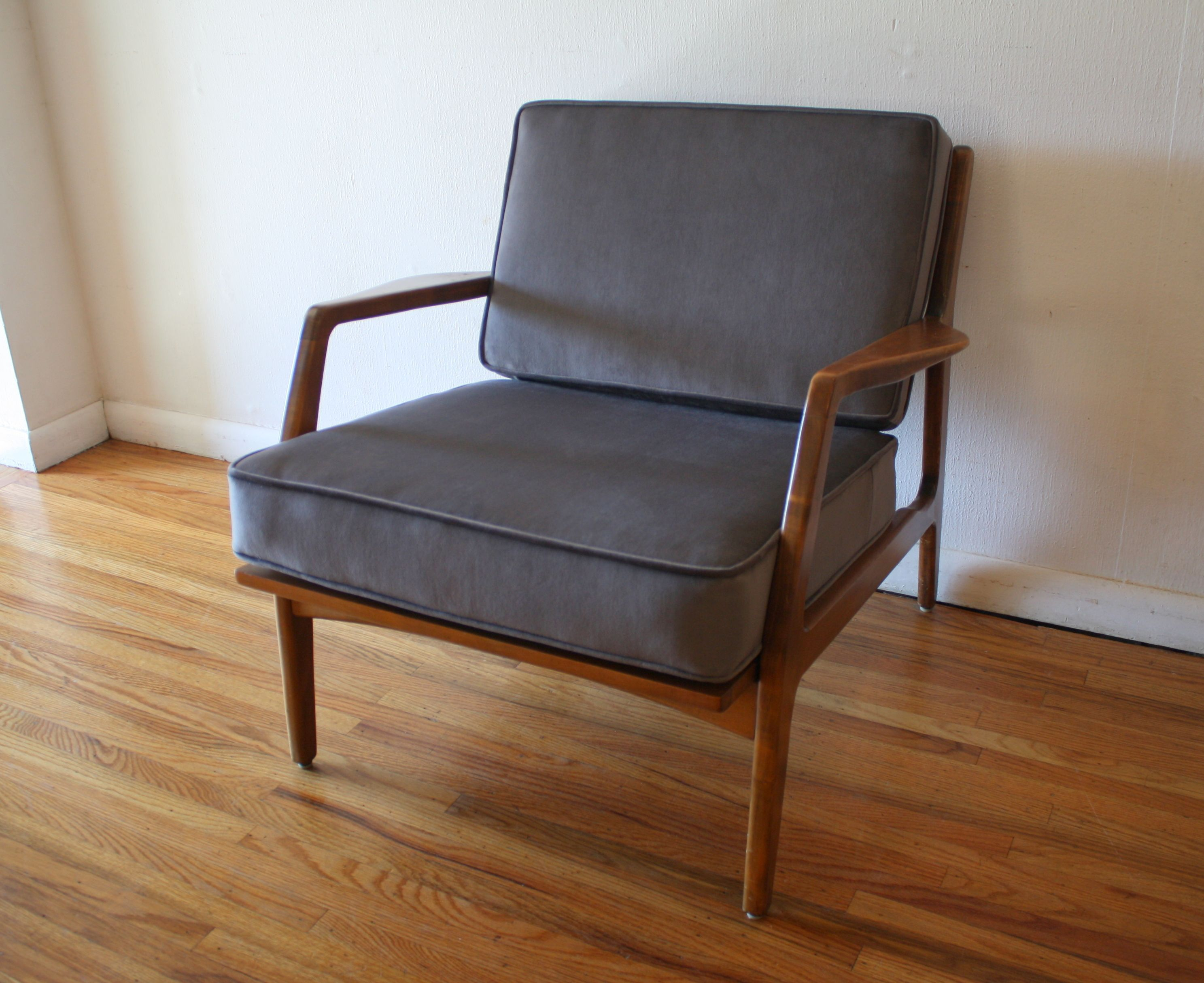 Mid century modern arm lounge chair with new elephant gray velvet