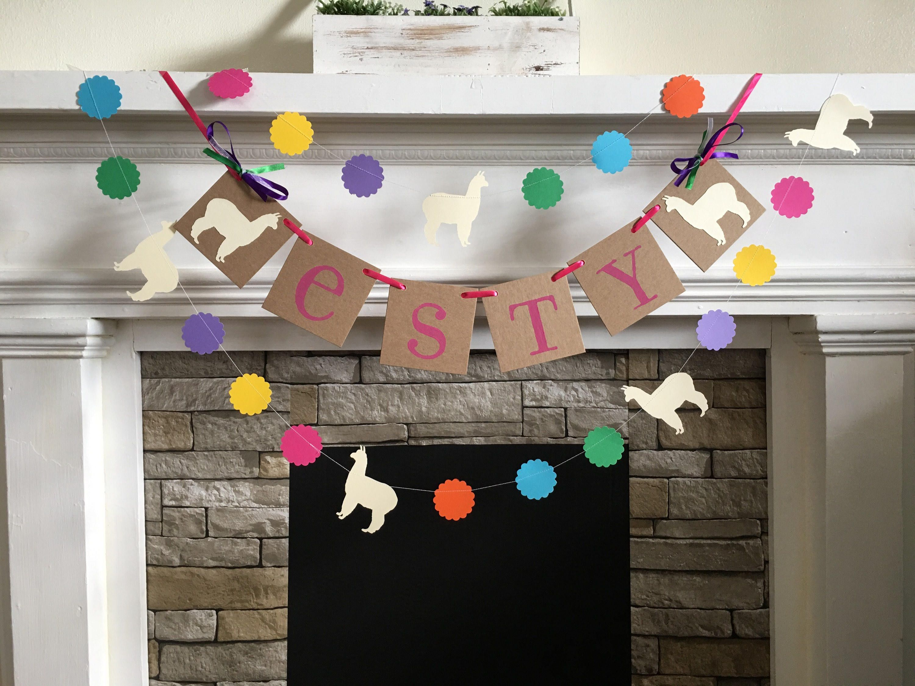 Llama Baby Shower Decorations Childs Name Banner Llama Birthday Banner