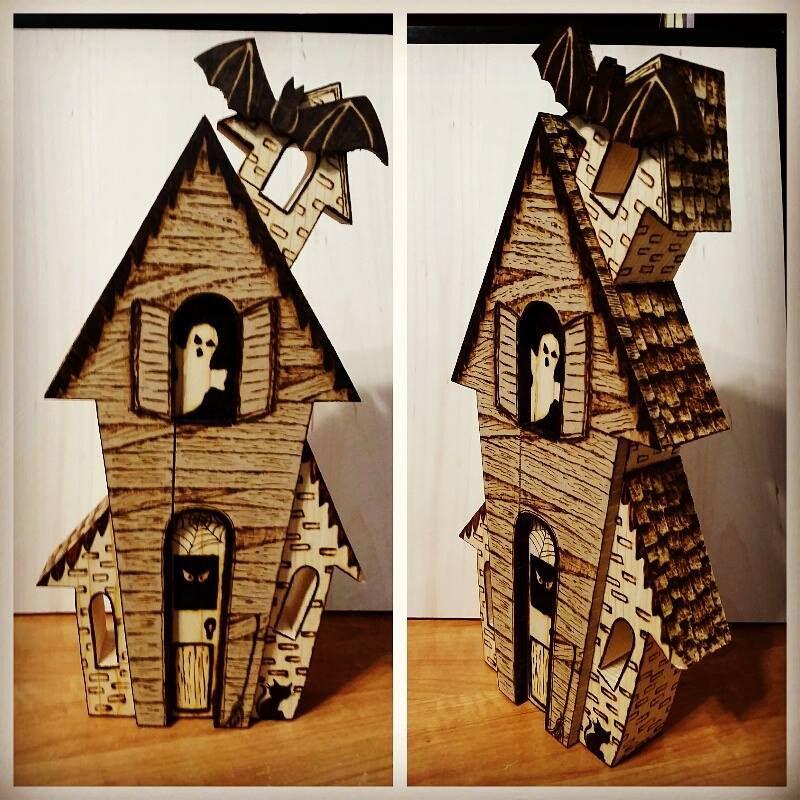 "12"" tall Halloween house. #pyrpgraphy #Halloween #woodburn_designs https://www.facebook.com/mywoodburndesigns"