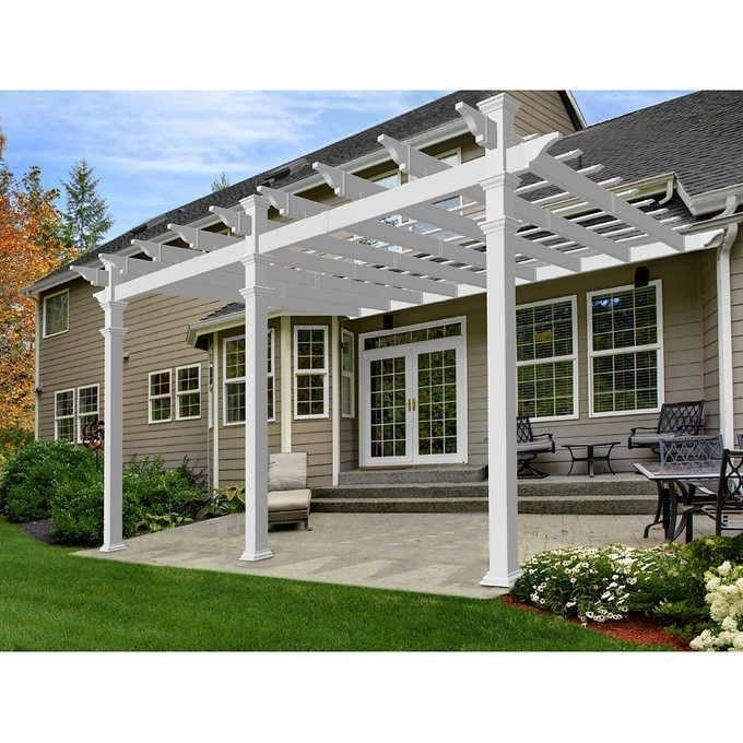 12x16 Ft White Pergola Vinyl Outdoor Patio Garden Shed Plans Accessory Kit Sale 1 288 63end Date Ebay Sales Home Garden Discounts Outdoor Pergola