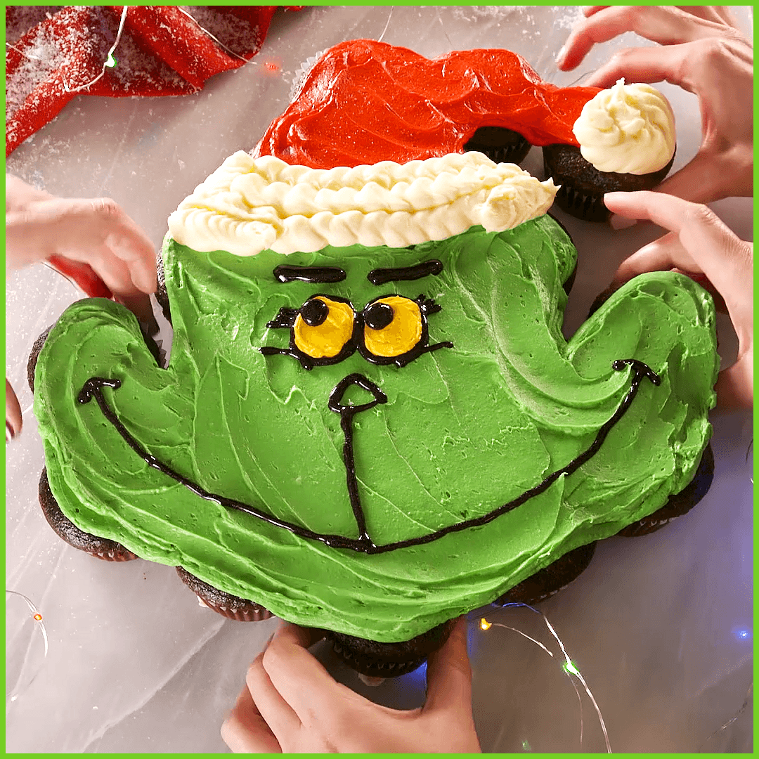 The Grinch Pull Apart Cupcakes Dont be intimidated These pullapart cupcakes are wayyyy easier to make than youd think Just watch the video a couple times  Get the recipe...