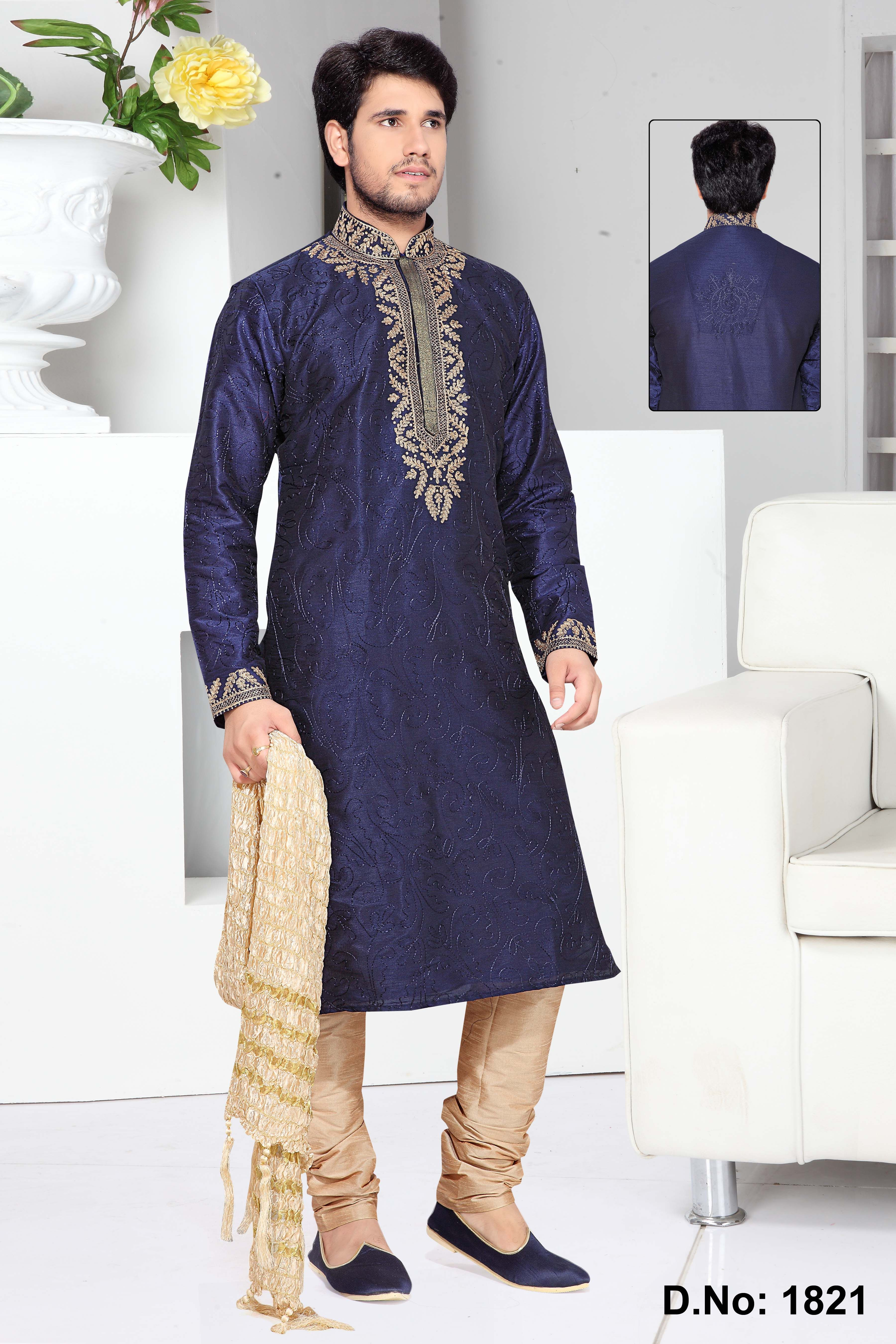 Groom kurta suits black wedding kurta designs asifa and nabeel men - Shake Off All Your Dark Moods And Brighten Your Day With This Navy Blue Art Silk Men S Kurta Pyjama The Ethnic Resham And Stones Work For Kurta Adds A Sign