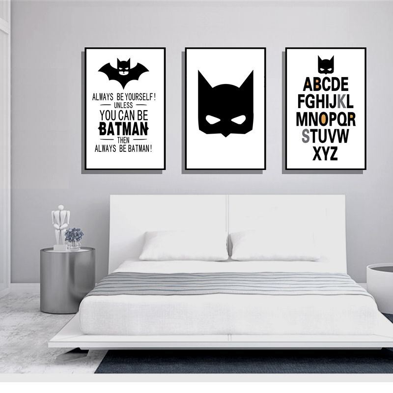 Directly from china posters and prints suppliers minimalist nordic decoration poster batman art posters and prints black white wall picture kids room