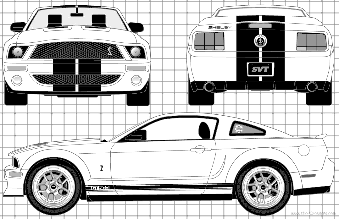 Ford Mustang Shelby GT500 (2007) | Blueprints | Pinterest | Ford ...