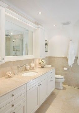 Good idea to bring the wall cabinets up like in a kitchen - Best paint color for crema marfil bathroom ...