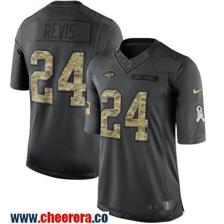 128700a1b Mens New York Jets 24 Darrelle Revis Black Anthracite 2016 Salute To  Service Stitched NFL Nike Jersey ...
