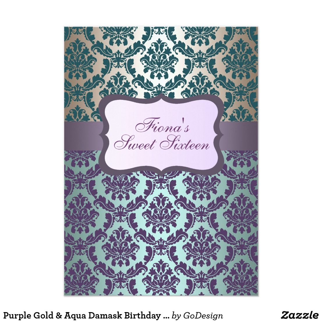 Purple Gold & Aqua Damask Birthday Invite This Elegant Sweet Sixteen ...