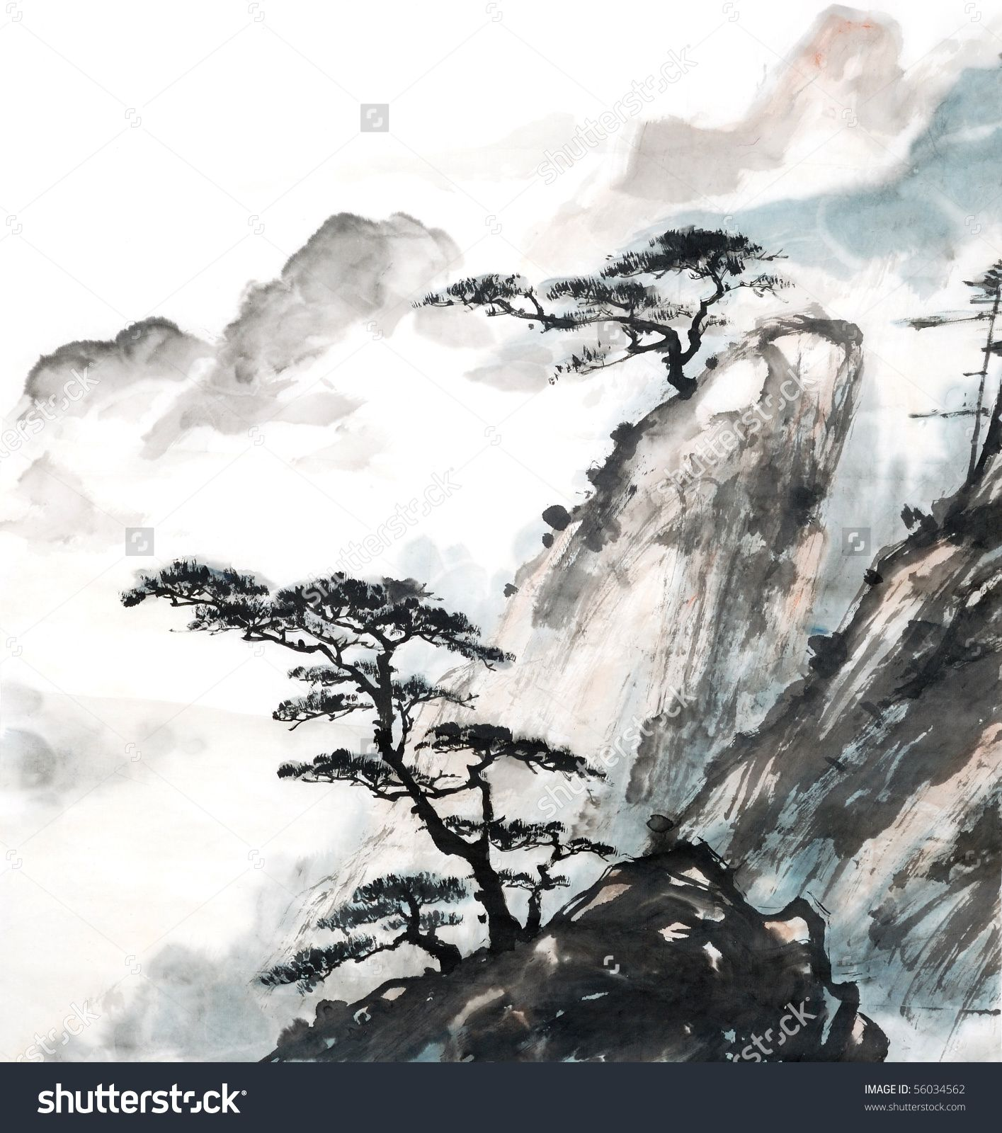 Chinese Landscape Painting Stock 56034562