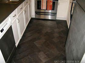 "East Coast Creative: DIY Herringbone ""Tile"" Floor Using Peel & Stick Vinyl {Knock It Off}"