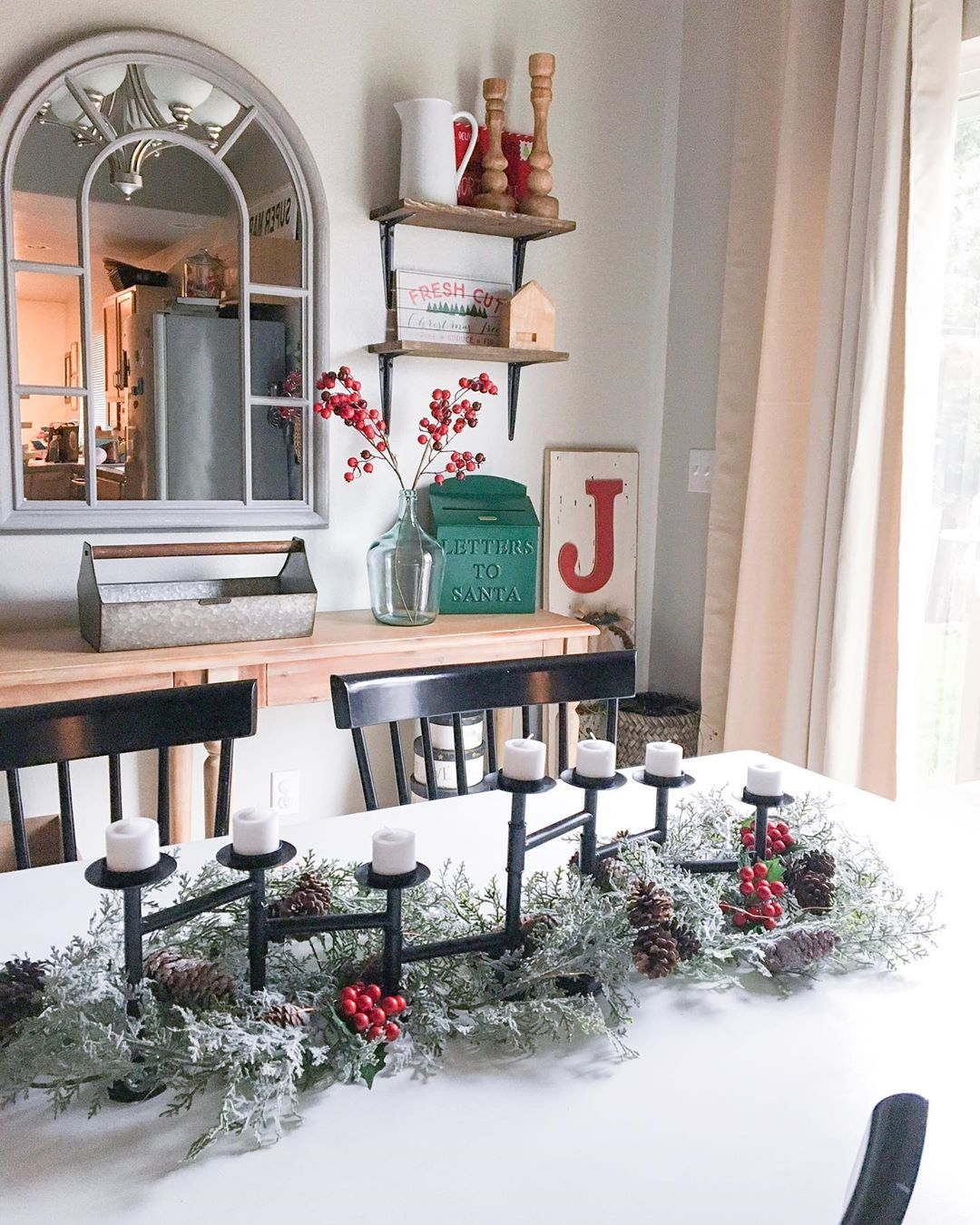 Christmas Decorating Has Begun We Are Holding Out On Decorating The Outside Until We Get Our Real Tree After Thanksgiving Decor Home Decor Dining Room