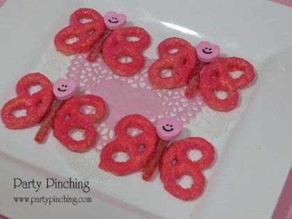 Valentine Pretzels, Butterfly Cookie, Butterfly Pretzel, Cute Butterfly,  Valentine Party Ideas,