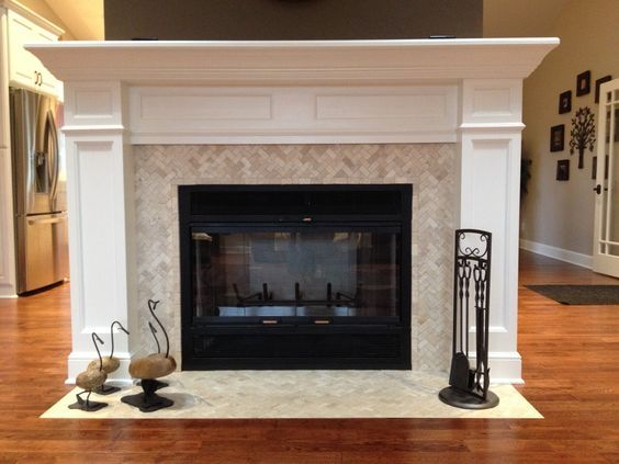 Cream Herringbone Stone Mosaic Tile Fireplace And