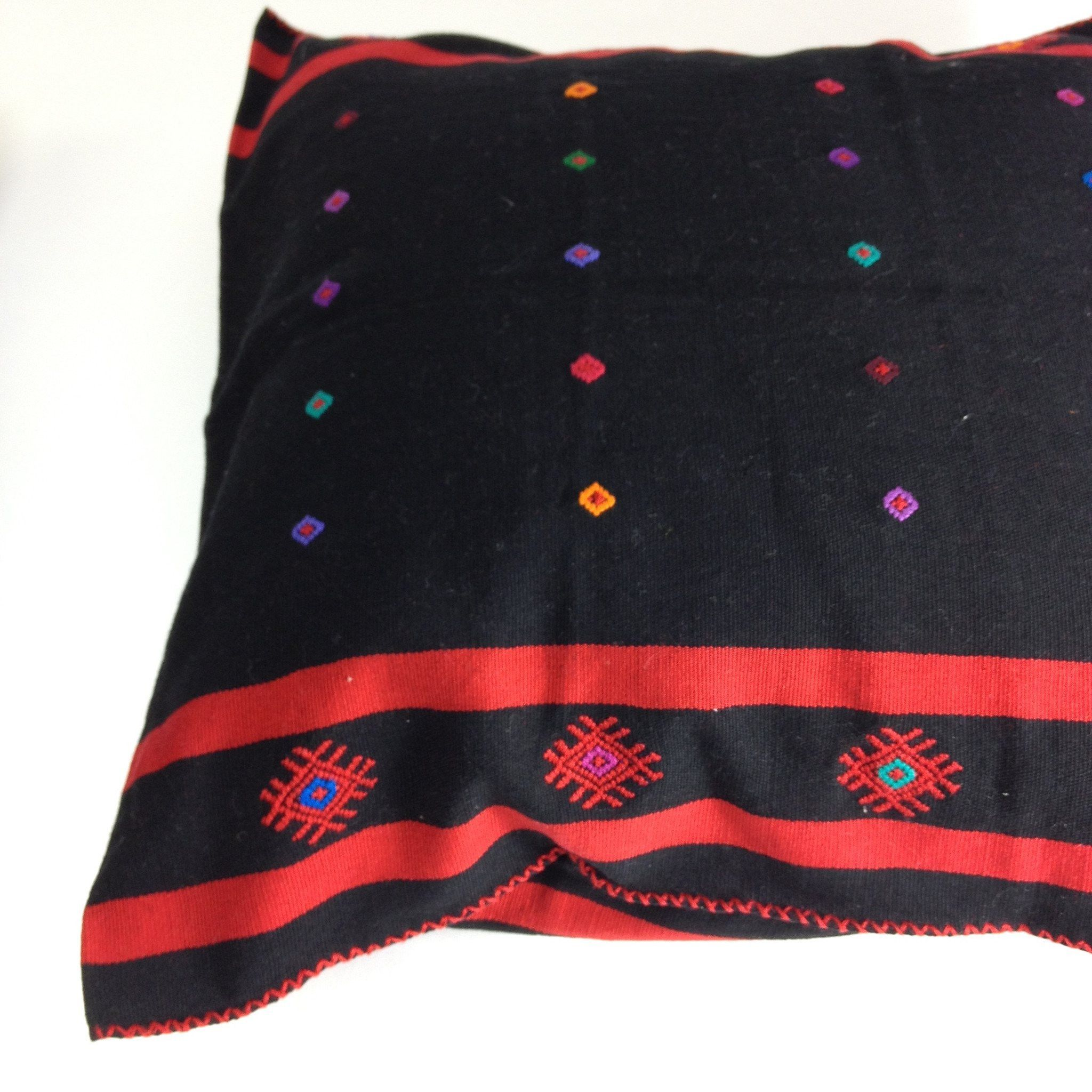 Black with Red Embroidered Pillow Cover from Chiapas, Mexico