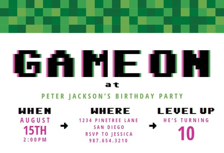 Video Game Party Birthday Invitation Template Free Party Invite Template Video Game Party Invitation Birthday Invitation Templates