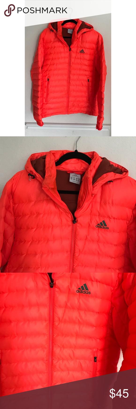 Adidas Neon Orange Puffer Jacket Orange Puffer Jacket Jackets Puffer Jackets [ 1740 x 580 Pixel ]
