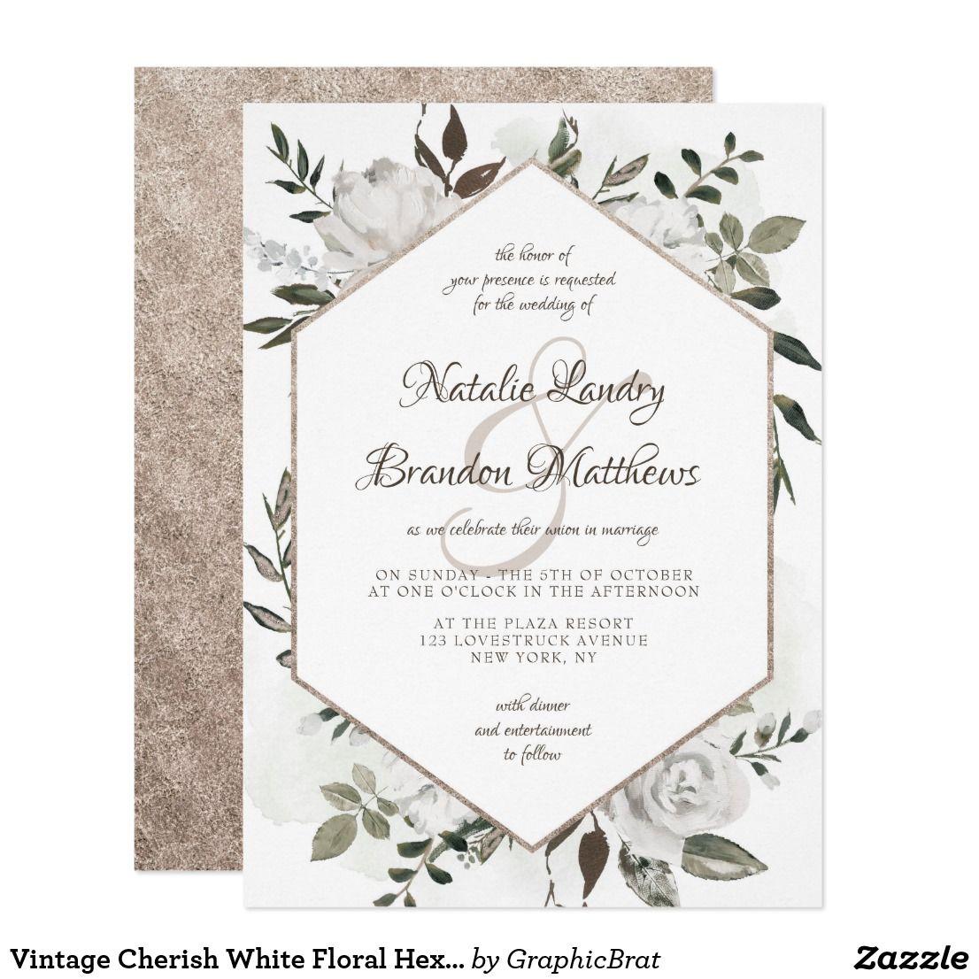 Zazzle Wedding Invitations.Vintage Cherish White Floral Hexagon Wedding Invitation Zazzle Com