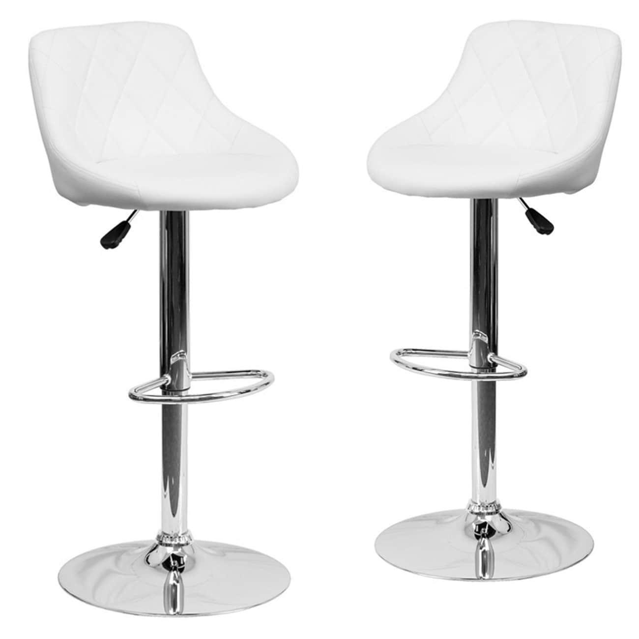 Belleze Set Of (2) Modern Adjustable Bar Stool Bucket Seat Swivel Footrest,  (