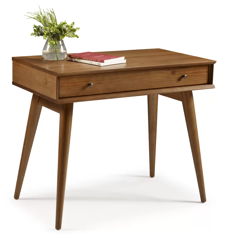 Aliyah Solid Wood Desk In 2020 Solid Wood Desk Wood Desk Mid Century Desk