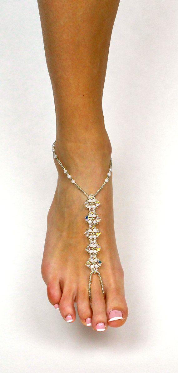 975fc27a7d9 Swarovski Barefoot Sandals Bridal Jewelry Wedding by BareSandals ...