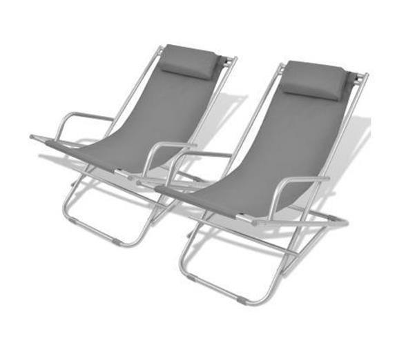 Outdoor Recliner Chair Grey Sun Deck Seat Camping Lounger