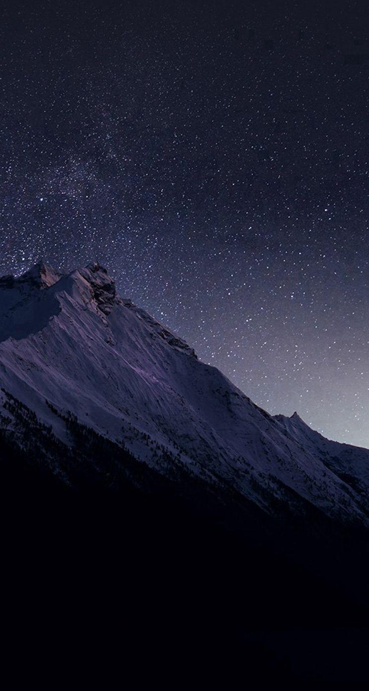 4723 22 Mountain Night Snow Dark Star Iphone 5s Wallpaper