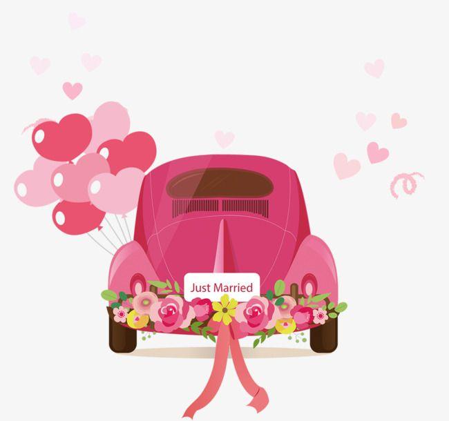 Cartoon Car Png And Psd Wedding Decal Just Married Car Baby Food Jar Crafts