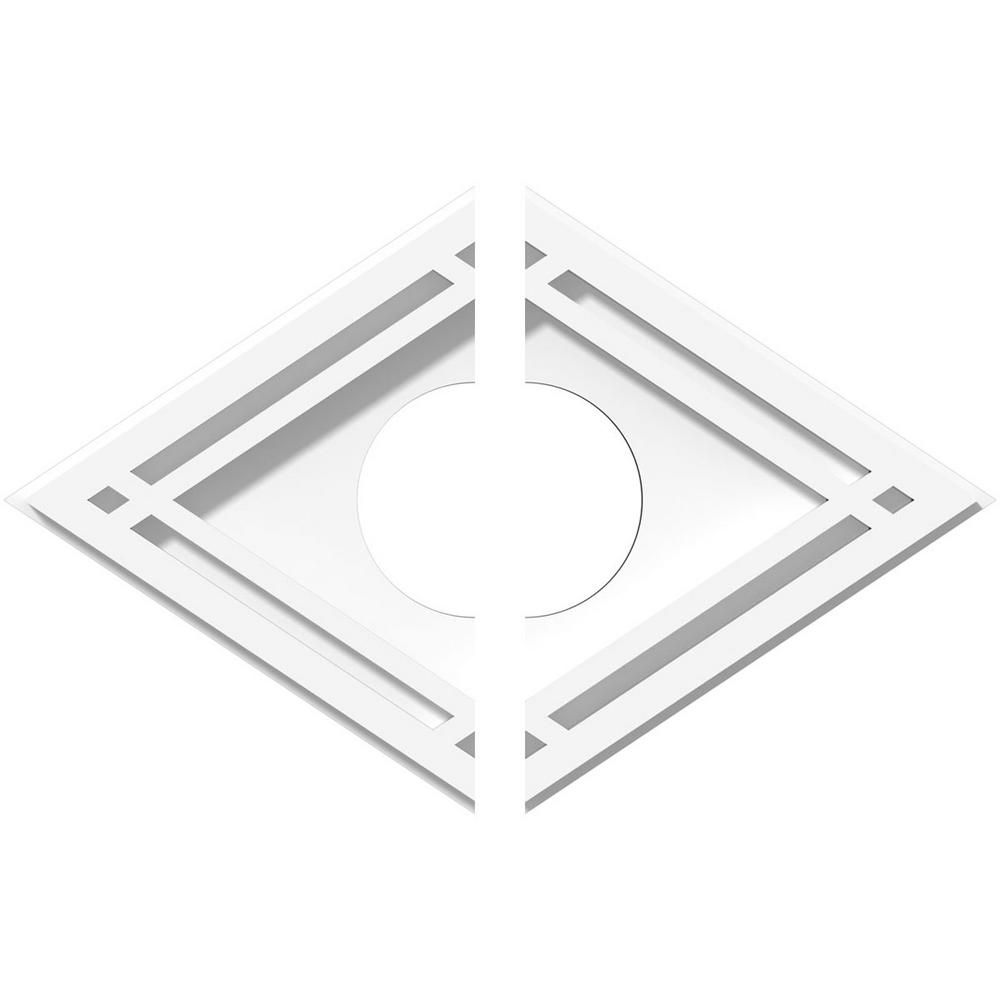 Ekena Millwork 12 In X 8 In X 1 In Diamond Architectural Grade Pvc Contemporary Ceiling Medallion 2 Piece 192770566319 Contemporary Ceiling Medallions Ceiling Medallions Pvc Moulding