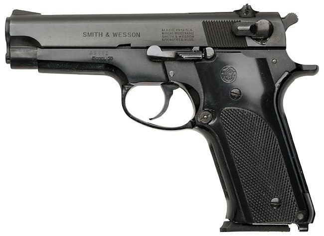 My second choice for handguns would be any of the Smith & Wesson Model 59 series of 9mms. Again, common ammo, huge supply of magazines, and easy to use. Just remember; the 59 and its successors have a slide-mounted safety. Don't get caught with your lever down, when the undead come out to play/ #gunsammo