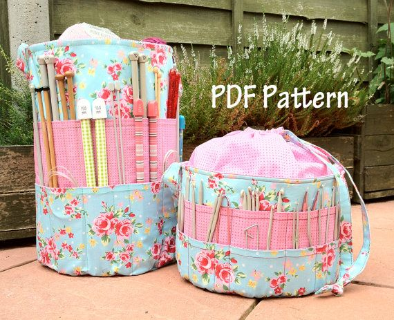 Knitting Bag Patterns To Sew : Ultimate knitters crochet tote pdf pattern sewing