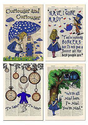 Set of 4 Alice in Wonderland Antique Book page Art Prints A4-Nursery Set 2 Blue    eBay