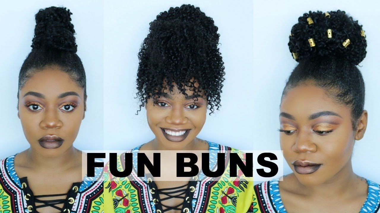 3 Quick Cute Styles For A Clip In Crochet Ponytail No More Boring Bun Video Natural Hair Bun Styles Black Girl Short Hairstyles Stylish Hair