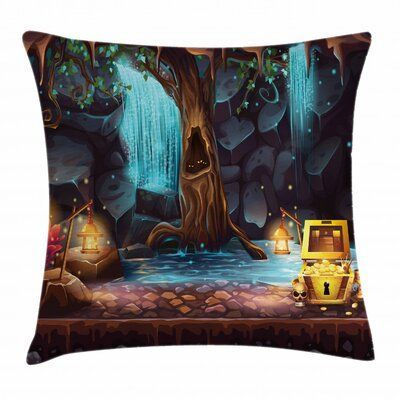 East Urban Home Cartoon Cave Landscape IndoorOutdoor 40 Throw Pillow Cover East Urban Home Cartoon Cave Landscape IndoorOutdoor 40 Throw Pillow Cover