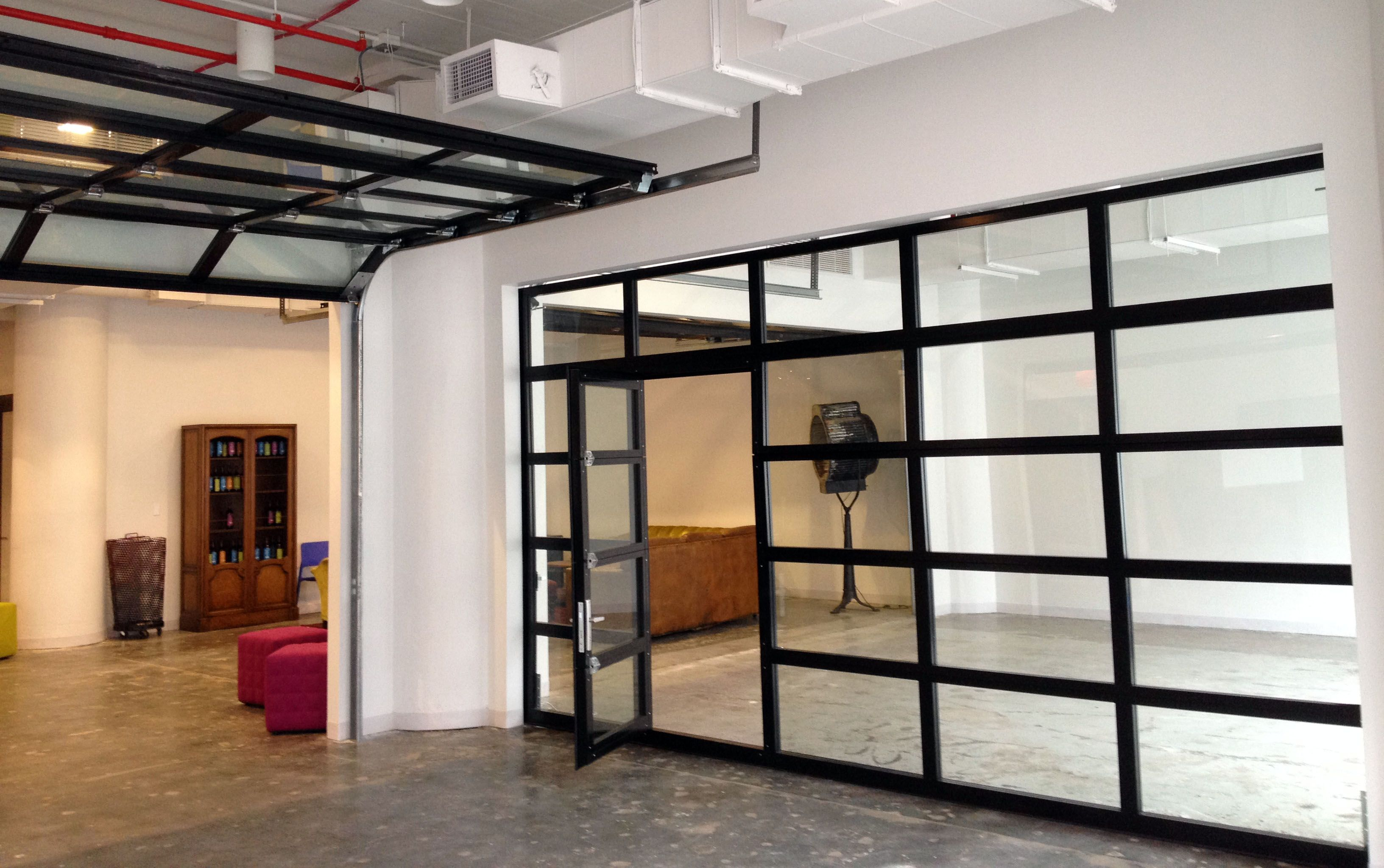 Glass garage door interior - 1st Floor Flex Space Glass Wall Option Clear Glass Garage Doors With Passing Door