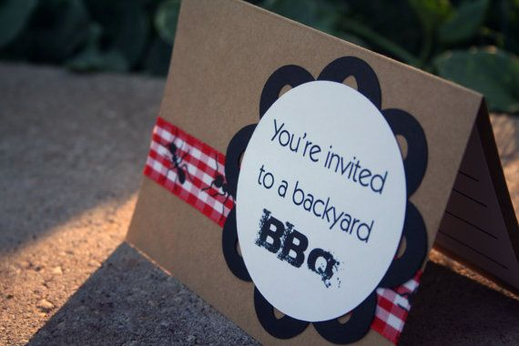 Cute Backyard BBQ Party Invitations  Set of 6 by SentimentalThings