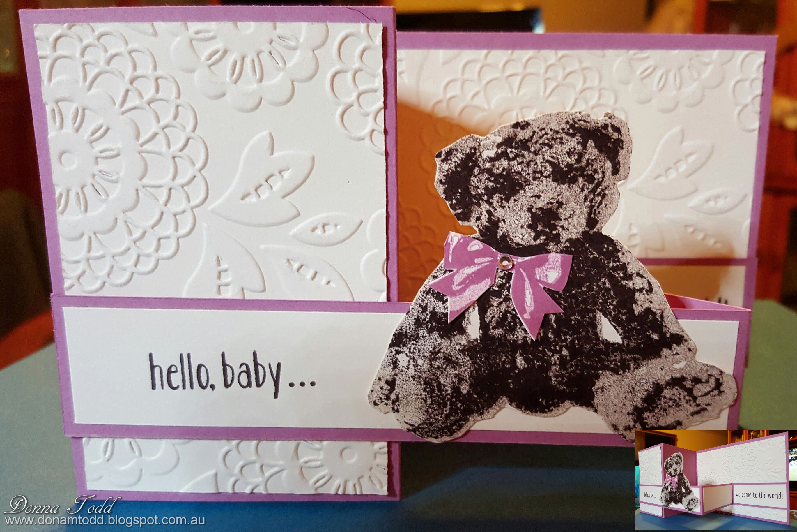 Card I made using the Baby Bear Stamp set from Stampin' Up! http://donnamtodd.blogspot.com.au/2016/06/baby-bear-z-fold-card.html