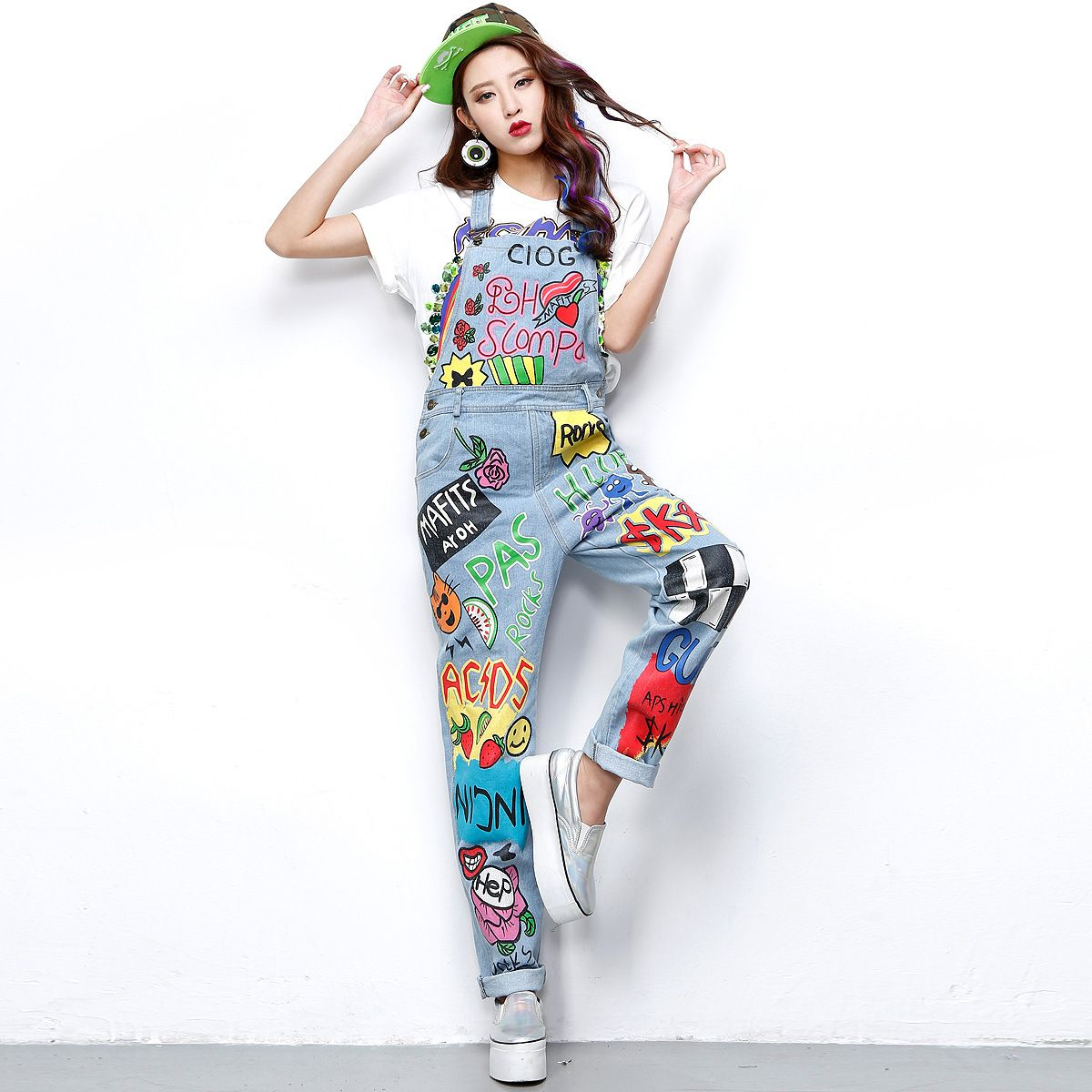 2016 Sweet Cute Ladies Stylish Painted Blue Jeans Overall Casual ...