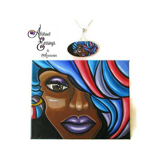Abstract Face Canvas Painting With Wearable Art Pendant Afrocentric Afro Futurism Black Woman Artwo