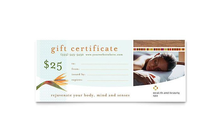 Health And Beauty Spa Gift Certificate Template Design By Stocklayouts Certificate Design Template Gift Certificate Template Certificate Templates
