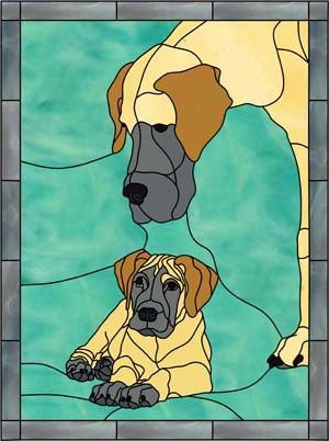Great Dane Puppy And Mother Stained Glass Stained Glass Crafts