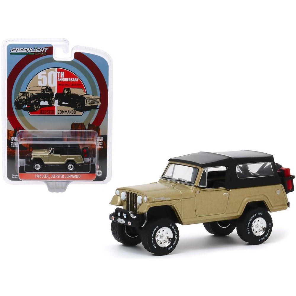 1966 Jeep Jeepster Commando Gold Metallic With Black Top 50th Anniversary 1 64 Diecast Model Car By Greenlight In 2020 Jeepster Commando Diecast Model Cars Jeep