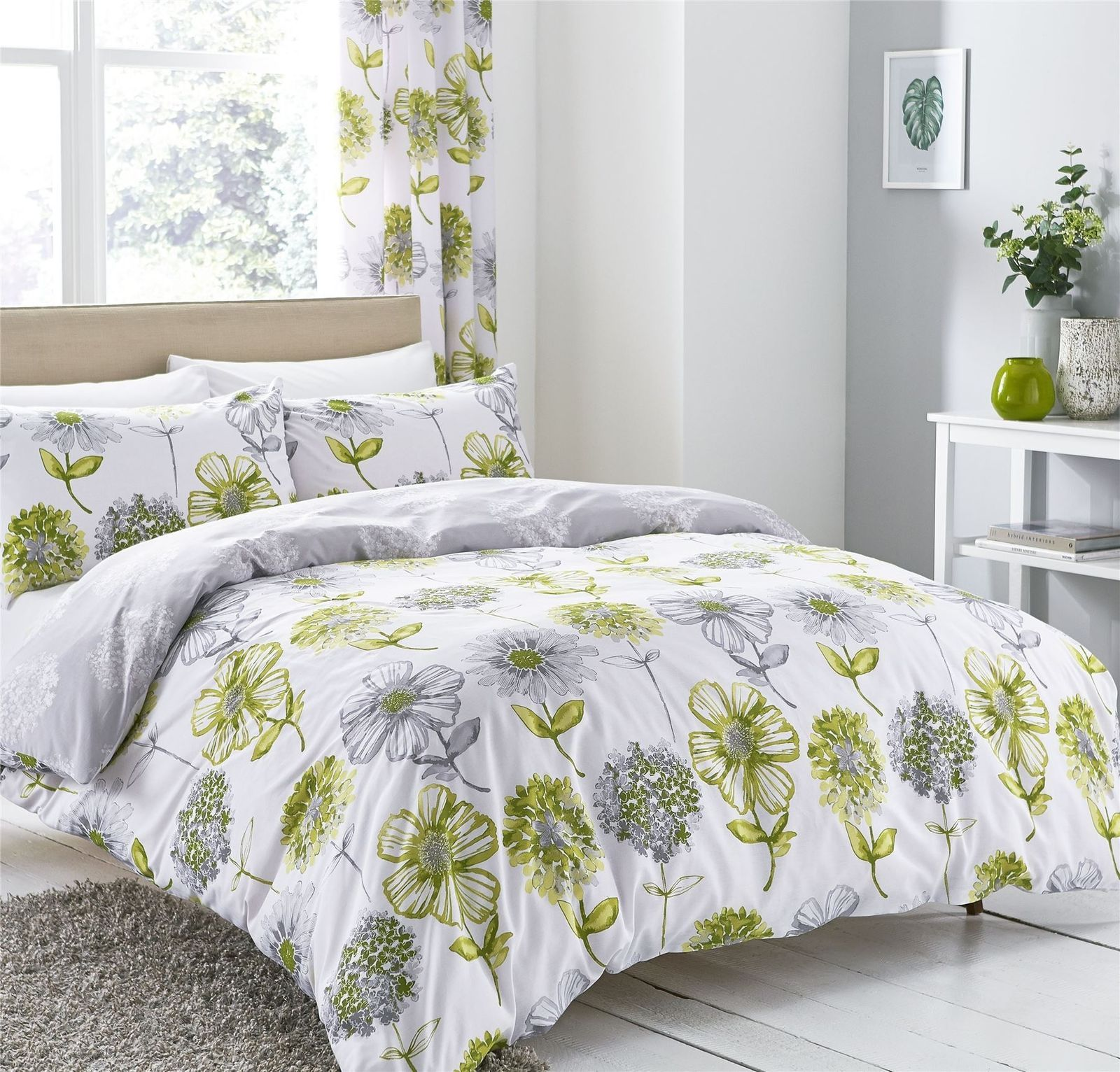 Watercolourstyle floral flowers green king size duvet coveruring