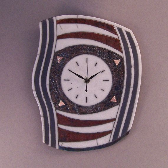 98 Raku ceramic wall clock 3 by AtelierPasseletemps on Etsy
