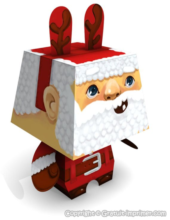 Bricolage pere noel 3d pour decoration de table de noel for Decoration 3d gratuit