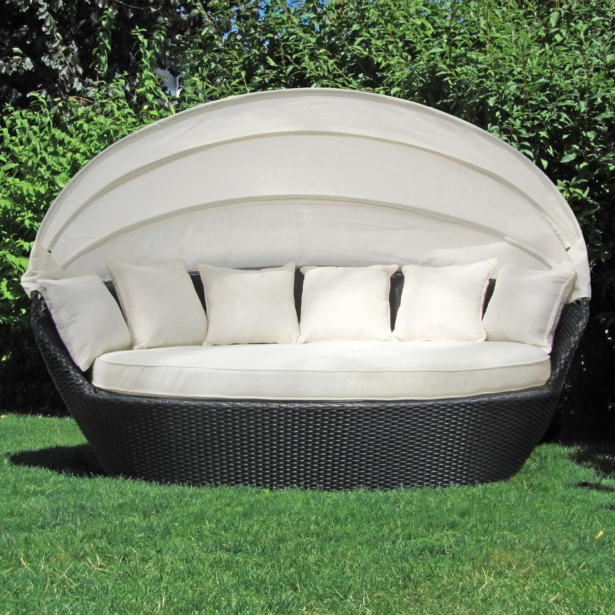 Sonneninsel, Polyrattan Garten Lounge, Chill Out Sofa Mit Baldachin  (200x120x140 Cm)
