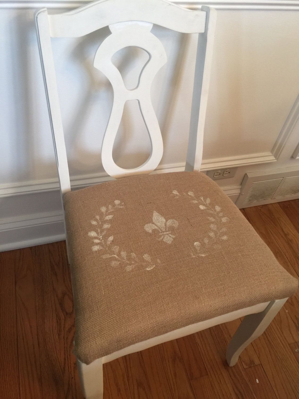 Small Shabby Chic Chair, Desk Chair, French Motif Chair, Fleur De Lis And  Wreath Graphics, Burlap Chair Cushion,rustic Chic